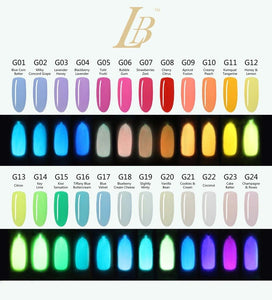IGel LB Glow In The Dark Gel Polish 0.6oz, Full Line Of 24 Colors (G01 to G24)