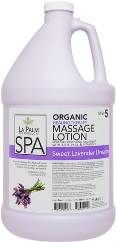 La Palm Organic Healing Therapy Massage Lotion - Sweet Lavender Dreams 1 Gal.
