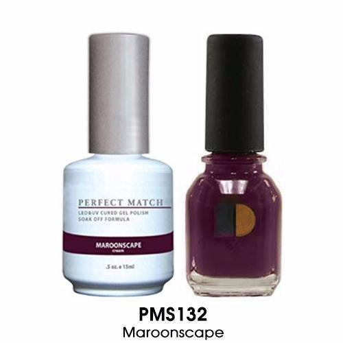 LeChat Perfect Match Nail Lacquer And Gel Polish, PMS132, Maroonscape, 0.5oz