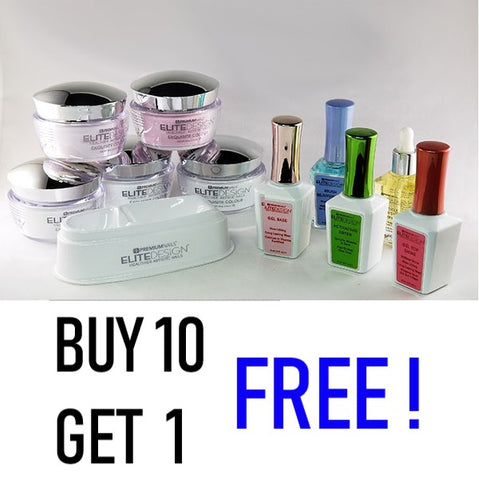 PremiumNail Elite Design Buy 10 Dipping  Powders Get 1 Free