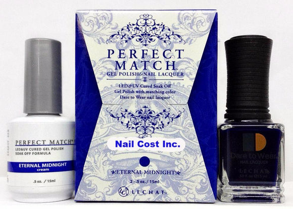 LeChat Perfect Match Nail Lacquer And Gel Polish, PMS222, Moon Goddess Collection, Eternal Midnight, 0.5oz