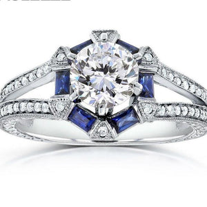 1 Carat Moissanites Baguette-Cut Blue Sapphire and Diamond Ring