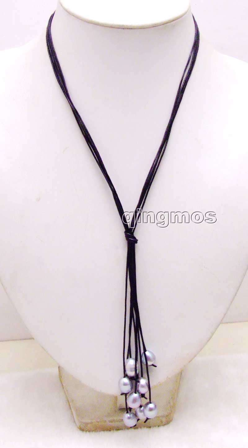 Big 10-11mm Gray Rice Pearl Black Leather 4 strands 32