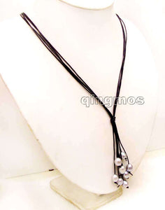 "Big 10-11mm Gray Rice Pearl Black Leather 4 strands 32"" Long Necklace"