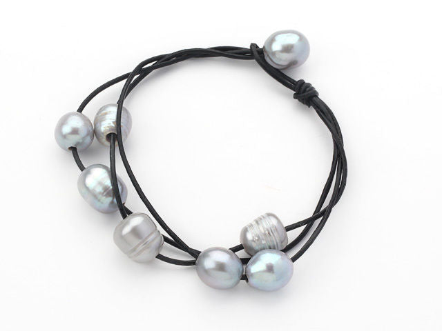 Multi-Strand Black Leather with Grey Freshwater Pearl