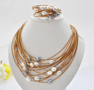 Elegant Handmade Real Pearl Leather Necklace set