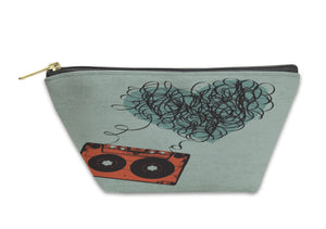 Accessory Pouch, Vintage Audiocassette Illustration With Heart Shaped Messy Tape