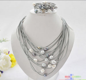 Elegant Handmade Real Pearl Jewelry Set 15 Rows 13mm black white gray rice pearl gray leather necklace