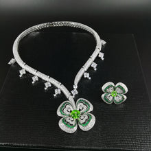 Luxury romantic green flower necklace ring set
