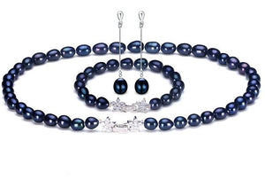 Natural Black Pearl Jewelry Sets For Women