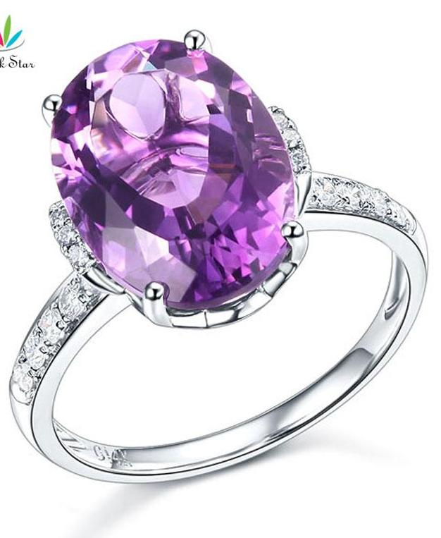 Peacock Star 14K White Gold Purple Amethyst Ring