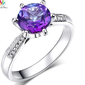 2 Ct Purple Topaz 14K White Gold Ring