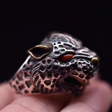 Sterling Silver Southern red leopard head ring