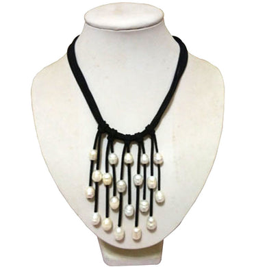 Leather Cord Natural White Rice Freshwater Pearl Handmade Tassel Necklace