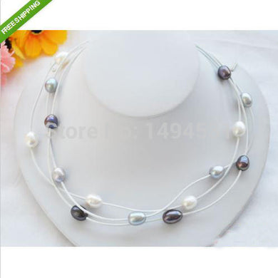 Pearl Chocker Leather Necklace 8-14mm White Gray Black Color Rice Shape