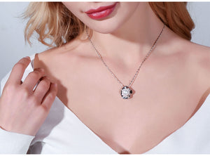 Pearl Pendant White Flower Necklace