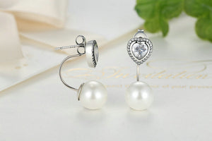 Silver Heart and Pearls Drop Earrings