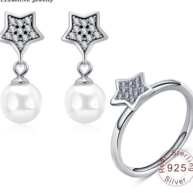 Star Pearl Silver Earrings and Rings Set