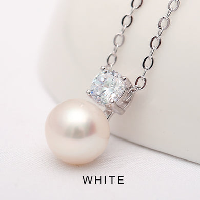 Natural White Pearl Pendant Sterling Silver Necklace