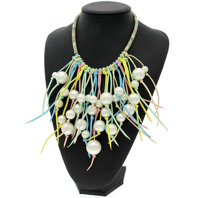 Colorful Handmade Leather Pearl Tassel Necklace