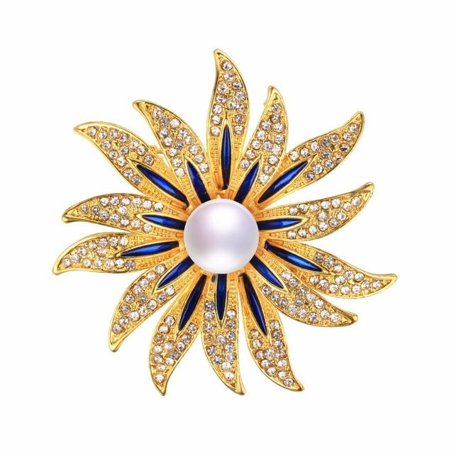 Blue and White Pearl Flower Brooch