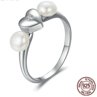Silver Sweet Heart with Fresh Water Pearl Rings