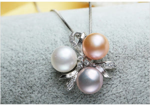 White, Pink and Purple Pearl Charm Necklace