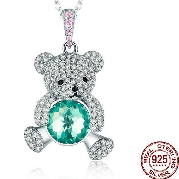 Green CZ Crystal Bear Necklace