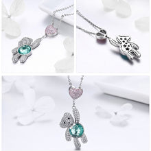 Pink CZ Heart And Cute Bear Animal Necklaces