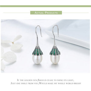 Elegant Clear CZ Hanging Drop Earrings