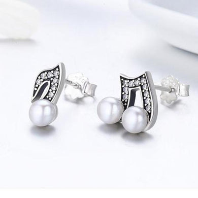 Silver Hip hop Style Melody Small Stud Earrings