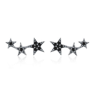 Silver Sparkling CZ Exquisite Stackable Star Stud Earrings