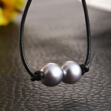 Double Pearl Leather Necklace