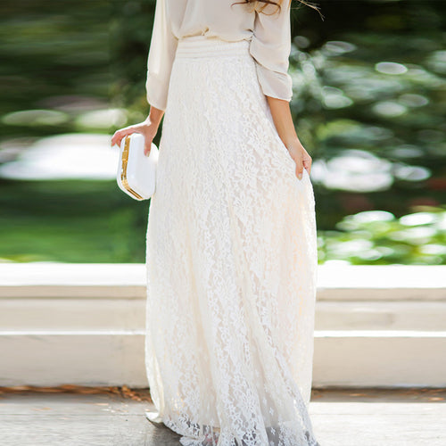 High Waist Openwork Lace Skirt