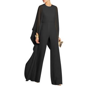 14f5122c092 Solid Cape Sleeve Hollow Out Chiffon Wide-Leg Jumpsuit