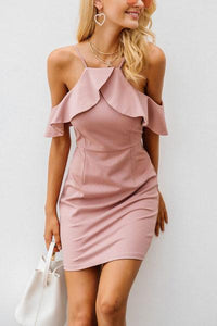 Spaghetti Strap  Flounce  Plain  Short Sleeve Bodycon Dresses