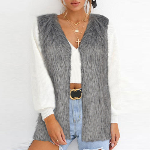 Faux Fur Collar  Plain  Teddy  Outerwear