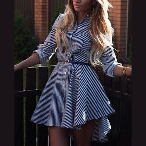 Turn Down Collar  Single Breasted  Plaid Skater Dresses