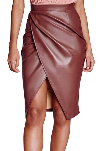 Coffee Leather-Look Velvet Wrap Splited Midi Skirt