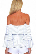 Load image into Gallery viewer, White Off Shoulder Bell Sleeve Smocked Bodice Striped Blouses