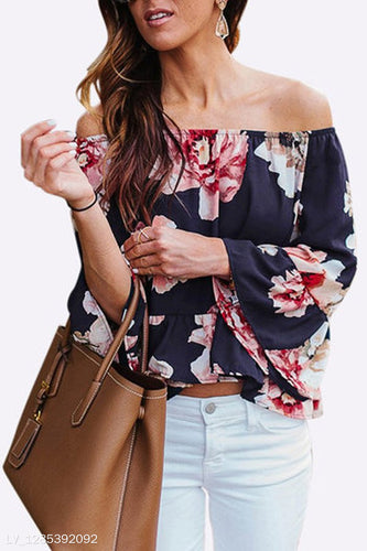 Chiffon Off Shoulder Floral  Blouses