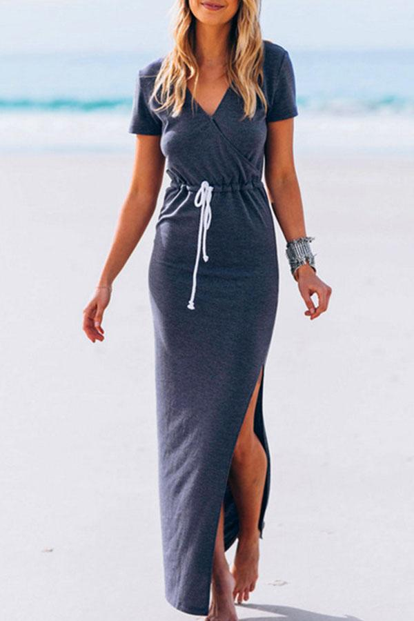 V Neck Side Slit Belt Loops Maxi Dresses