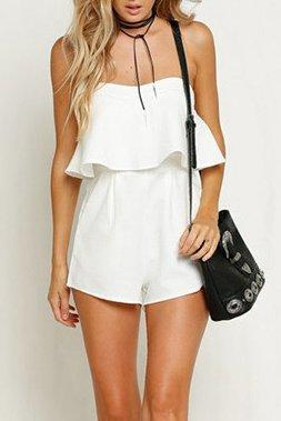 Off Shoulder Flounce Plain Short Playsuit