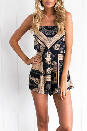 Spaghetti Strap Cross Straps Printed High Rise Wais Playsuits