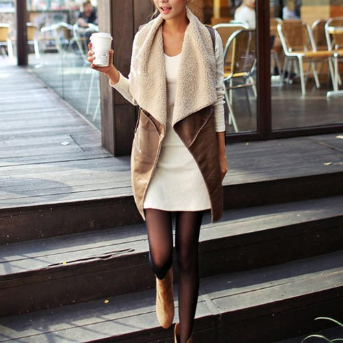 Faux Leather Slim Winter Vest