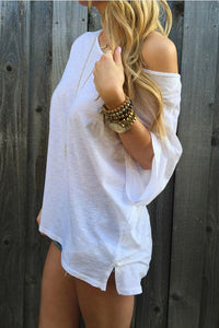 One Shoulder  Plain T-Shirts