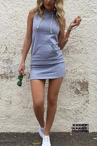 Hooded  Drawstring  Plain Casual Dress