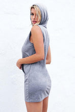 Load image into Gallery viewer, Hooded  Drawstring  Plain Casual Dress