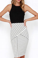 Load image into Gallery viewer, Round Neck  Color Block Striped Bodycon Dresses
