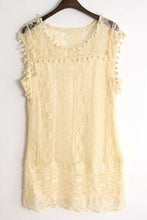 Load image into Gallery viewer, Round Neck  Tassel  Lace Plain Casual Dresses